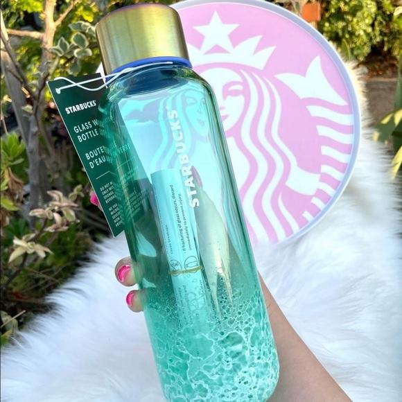 Starbucks Teal/Ocean Glass Water Bottle 20 oz
